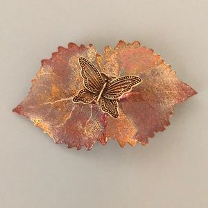 Leaf Barrette, Hand-crafted.